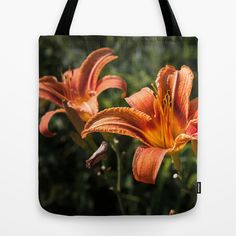 Orange Yellow Fire Lily Tote Bag by #PLdesign #FlowerGift #Flowers #Spring
