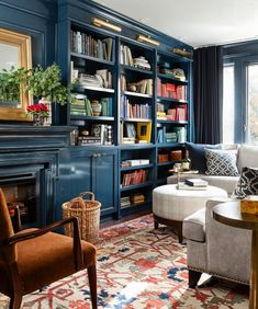 Blue lacquered cabinets-note library lights