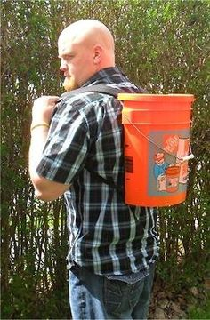 Bucket Backpack! We're sure you've seen our well-known orange Homer Buckets around town before. Bret here hacked his orange bucket to DIY some super fly, super utilitarian gear! We've got to say, we love it!