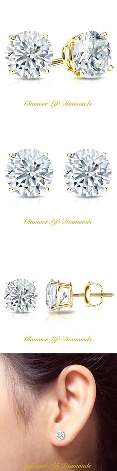 Diamond 10986: 2 Ct Round Earrings Studs Solid 14K Yellow Gold Brilliant Cut Basket Screw Back -> BUY IT NOW ONLY: $134.78 on eBay!