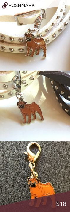 "Standing Pug, boxer, bulldog enamel clip Standing Pug enamel clip 🐶 on leather bracelet/ choker or  silver colored chain. Choose 20"" silver colored chain🐾 OR 🐾 White, brown or Black strap leather with silver colored metal accents and buckle. Leather bracelet/choker is  approx 36"". IF you only want the clip charm, choose CHARM ONLY and bid $10. Cute dog could be pug, bulldog, boxer, or a special dog you know! Fun addition for a goth/ punk  look or just to wear with jeans! 🐶 Jewelry…"