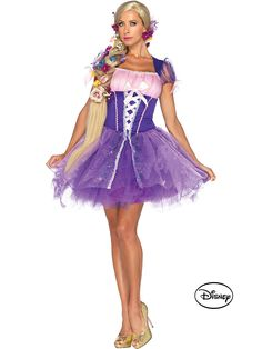 Leg Avenue Rapunzel Adult Princess Costume Adult Disney Princess Rapunzel Costume features peasant dress with glitter skirt and tulle overlay with printed ...  sc 1 st  Pinterest & 10 best Disney Halloween images on Pinterest   Halloween makeup ...