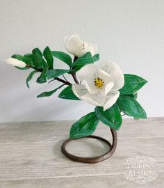 French Beaded Southern Magnolia flower sculpture - by Lauren Harpster of Lauren's Creations