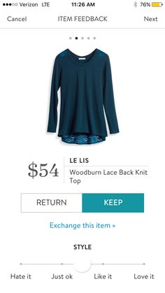Le Lis Woodburn Lace Back Knit Top $54. I love Stitch Fix! A personalized styling service and it's amazing!! Simply fill out a style profile with sizing and preferences. Then your very own stylist selects 5 pieces to send to you to try out at home. Keep w https://bellanblue.com