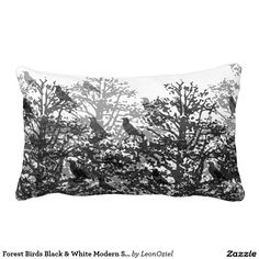 Shop Forest Birds Black & White Modern Silhouette Lumbar Pillow created by LeonOziel. Decor Pillows, Decorative Pillows, Lumbar Throw Pillow, Throw Pillows, Bird Tree, Repeating Patterns, Trees, Tapestry, Birds