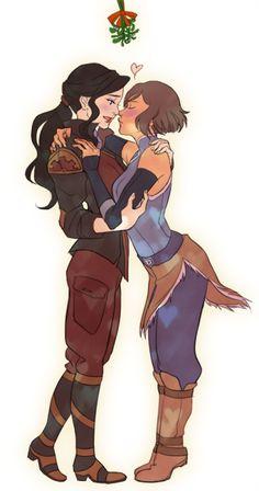Korra x Asami kiss under the mistletoe Korra Avatar, Team Avatar, Die Legende Von Korra, Asami Sato, Avatar Airbender, Avatar Series, Korrasami, Air Bender, Legend Of Korra