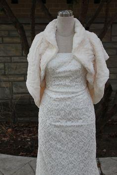 faux fur shrug bolero Wrap,wedding bolero, bridal wrap. $69.00, via Etsy.