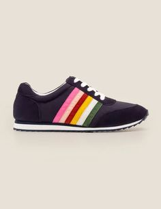 Striped Sneakers - Navy and Rainbow Lace Up Trainers, Boden Uk, Bleu Marine, Rainbow, Stylish, Navy, Sneakers, How To Wear, Shopping