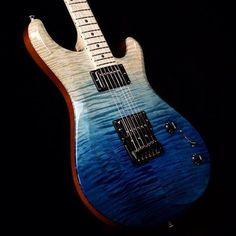 Knaggs Guitars Severn T2 Trembuck Faded Ocean Blue, Maple fret board