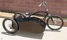 custom made black sidecar with chopper beach cruiser