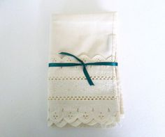 Eyelet Lace Pillow Case White Cotton Mid by WeeLambieVintage