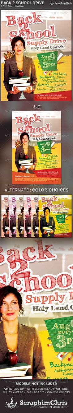 This Back to School Drive: Church Flyer Template is customized forthose that want an ad with colors that pop and cater to a more conservative crowd. 46 Flyer 8.5X11 Flyer 6 Color Options TutorialsAll layers in the files arearranged color coded and simple to ed