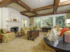 LOVE the ceiling in this living room! Such intricate work.   (4205 Lakeside Drive, Highland Park - Dallas, Texas)