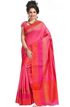 Cherry Pink Cotton Silk Saree