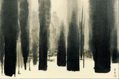 """""""Summer Trees"""", Ink Wash on Paper, Song Su-nam Classic Paintings, Fine Art, Chinese Art Painting, Painting, Korean Painting, Sculpture Painting, Printmaking Art, Eastern Art, Ink Painting"""