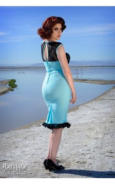Pinup Couture- Micheline Dress in Tiffany Blue Bengaline | Pinup Girl Clothing