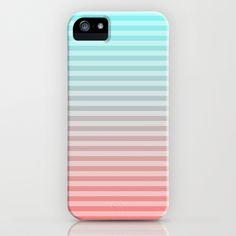Beach Blanket - Aqua/Peach iPhone Case by Lyle Hatch - $35.00
