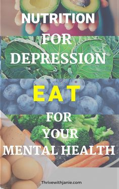 Depression Nutrition: Food that Improves Mood and Mental Health - Thrive With Janie Are you eating for depression? You can improve your mood, and mental health with the right nutrition by eating for your mood Nutrition Education, Nutrition Holistique, Nutrition And Mental Health, Good Mental Health, Holistic Nutrition, Proper Nutrition, Health Eating, Health Diet, Mental Health