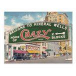 Mineral Wells Texas Crazy vintage reproduction Postcard #Texas