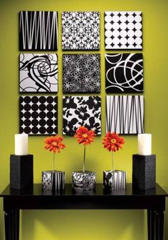 LOVE the black and white on the Green accent wall! I totally want to make some of these for my room! and Future house :)