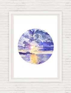 Sunset Painting Circle Art Sunrise Wall art Ocean Watercolor Landscape, Sky Round Nautical Prints, Sea Abstract Seascape Print, Blue Cloud Signed high quality fine art print of my original watercolor painting.  Size paper: 21 cm x 29,7 cm, 8 1/4 x 11.5/8, A4.(with white borders) - 18.00 $  29,7cm × 42cm, 11,69 × 16,54, A3(with white borders) - 36.00 $  Other dimensions are available upon request The paper used for my watercolors paintings is watercolour paper 200g/m - 50%cotton...