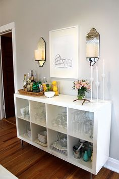 Shelving unit turned into a functional bar, Looks like Ikea. I seem to be pinning a lot of these DIY bars even though I'm not a drinker!