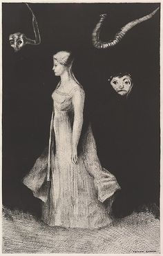 Odilon Redon (French, 1840–1916). Haunting, 1893–94. The Metropolitan Museum of Art, New York. The Elisha Whittelsey Collection, The Elisha Whittelsey Fund, 1955 (55.501) #Halloween