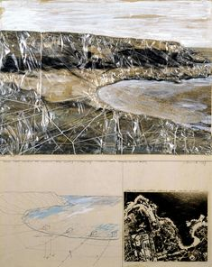 "Christo  Packed Coast (Project for Australia near Sydney - Little Bay)  Collage 1969  28 x 22"" (71 x 56 cm)  Pencil, polyethylene, twine, rope, enamel paint, wax crayon, pastel and aerial photograph"