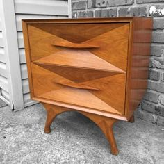 Mid Century Modern Maple Nightstand by asburyparkvintage on Etsy