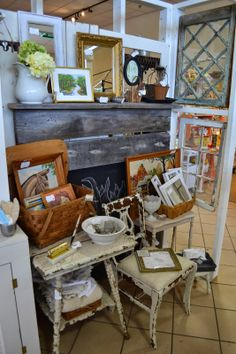 Coastal Charm: Shop Talk with Shabby Love  I like the use of windows as space divider