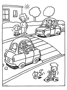 Kleurplaat In het verkeer - Kleurplaten.nl Preschool Coloring Pages, Colouring Pages, Coloring Books, Letter T Activities, Kindergarten Activities, Safety Rules For Kids, Bus Crafts, Picture Comprehension, Transportation Activities