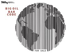 OIL BAR CODE | Sep/8/14 Bill Day - Cagle Cartoons - BAR CODE color - English - global warming, climate change, big oil, bar code