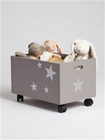 Mobile toy storage- would be great to find shallow boxes that fit under Anya's big girl bed and stick wheels on them.
