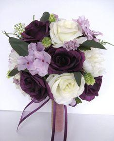 Plum Flowers, Silk Flower Bouquets, Bridesmaid Flowers, Bride Bouquets, Rustic Purple Wedding, Plum Wedding, Wedding Flowers, Wedding Ideas, Fall Wedding