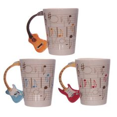 Ceramic Sheet Music Cup / Mug Acoustic Guitar Handle 3 Colourways Ideal Gift