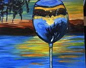 Original Oil Painting, 16x20, titled Glass of Inspiration.  I enjoyed painting a landscape through the wine glass perspective.  It was both challenging and fun.  This painting is available through my etsy shop for