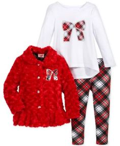 632234db128e9 Nannette 3-Pc. Holiday Jacket, Shirt & Leggings Set, Toddler & Little Girls  (2T-6X) & Reviews - Sets & Outfits - Kids - Macy's