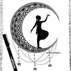 Bharatanatyam dancer silhouette in Crescent moon Home decor image 3 Dancing Drawings, Girly Drawings, Art Drawings Sketches Simple, Doodle Art Drawing, Zentangle Drawings, Mandala Drawing, Zentangles, Mandala Art Lesson, Mandala Artwork