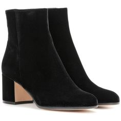 Gianvito Rossi Margaux Velvet Ankle Boots ($925) ❤ liked on Polyvore featuring shoes, boots, ankle booties, black, ankle bootie boots, short black boots, black ankle bootie, black shootie and gianvito rossi booties
