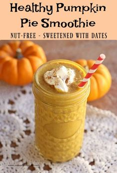 This delicious smoothie is nut-free and sweetened with dates! Gf Recipes, Dairy Free Recipes, Gluten Free, Healthy Recipes, Yummy Smoothies, Juice Smoothie, Top Food Allergies, Daniel Fast Recipes, Pumpkin Pie Smoothie