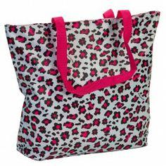 Large Pink & Blue Leopard Print Beach Tote Bag www.Silverhooks.com