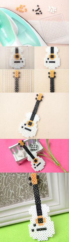 Tutorial on How to Make Your Own Cool Perler Bead Guitar Pattern for Home Decor from LC.Pandahall.com