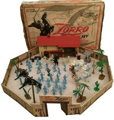 Zorro Playset by Marx - the one Disney thing I could not get enough of. I had this, a full costume with rapier, the trading cards. Vintage Toys 1960s, Retro Toys, Toys In The Attic, 10 Year Old Boy, Important Things In Life, Top Toys, The Old Days, Disney Toys, Toys For Boys