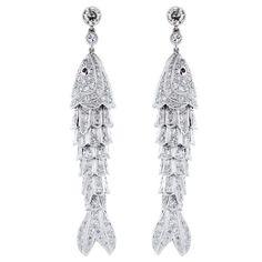 Delightful Diamond Fish Earrings