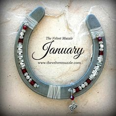 Personalized Birthstone Horseshoe | January | Garnet | Silver | Pewter | Available with one name or two! www.thevelvetmuzzle.com
