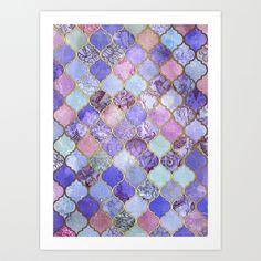 画像1: Royal Purple, Mauve & Indigo Decorative Moroccan Tile Pattern by…