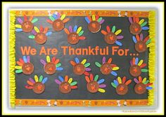 Thanksgiving Fall Bulletin Boards and Doors for School- love this cute paper plate turkey thankful craft with words written on the feathers!