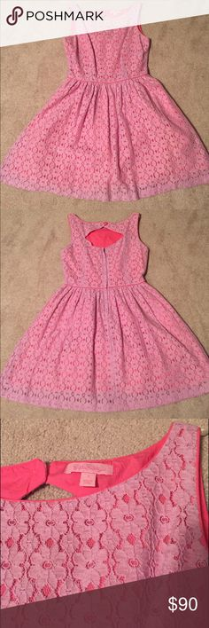 Lilly Pulitzer Aleesa Lace Dress Size 2 Lilly Pulitzer Aleesa Petal Pusher Lace Dress Size 2 Back Keyhole Opening with Button Closure Wore One Time Purchased for $238 Lilly Pulitzer Dresses