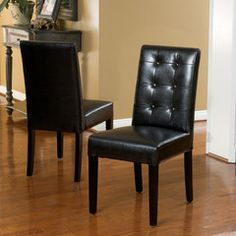Gillian Black Leather Dining Chair (Set of 2)