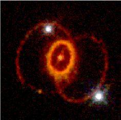 Em 1987, uma estrela em uma das galáxias satélites da Via Láctea explodiu. Em 1994, o Telescópio Espacial Hubble, em órbita ao redor da Terra, teve uma imagem muito detalhada dos restos desta explosão. Esta foto, acima, mostrou anéis incomuns e inesperadas, e os astrônomos não tem certeza de como se formaram.